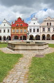 Plaza with well-conserved Renaissance and Baroque houses, Telc, Moravia, Czech republic — Stock Photo