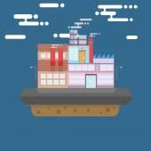 Industry Floating Island — Vector de stock