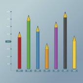 Bar Chart Pencil — Stock Vector