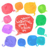 Vector Watercolor Speech Bubbles Set — Stok Vektör