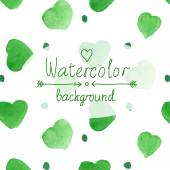 Abstract watercolor pattern with green hearts background — Stock Vector
