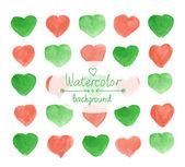 Hearts red and green pattern watercolor — Stock Vector