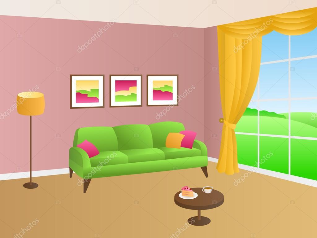 Nappali sárga, zöld rózsaszín kanapé párnák lámpa ablak illusztráció vektor — Stock Vector ...