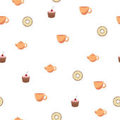 Abstract background seamless donut tea cup cake teapot vector — Stock Vector