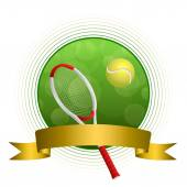 Background abstract green tennis sport ball illustration gold tape circle frame vector — Stock Vector