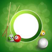 Background abstract green billiard pool cue red ball circle frame illustration vector — Stock Vector