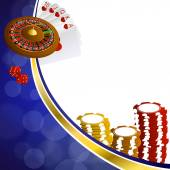 Background abstract blue gold casino roulette cards chips craps illustration vector — Vettoriale Stock