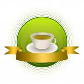 Arka plan yeşil çay altın şerit daire illüstrasyon vektör çerçeve — Stok Vektör