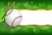 Background abstract green sport white baseball ball club gold strips frame illustration vector — Stock Vector