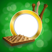 Background abstract green gold chess game brown beige board figures frame circle illustration vector — Stock Vector