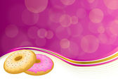 Abstract background pink yellow baked donut glazed ring frame illustration vector — Wektor stockowy