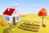 Garden house autumn landscape day illustration vector — Stock Vector