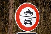 Road sign ban of cars and motorcycles — 图库照片