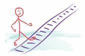 Man climbing career ladder — Stock Photo