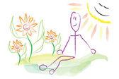 Man sitting in nature in the sun illustration — Foto de Stock