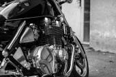 Subotica, Serbia - Jun 13, 2015: Photo shoot of Kawasaki ZR 1100 Zephyr A1 bike from 1992.Four stroke transverse four cylinder. DOHC, 2 valves per cylinder. 1062cc, air cooled. Black and white photo. — Stock Photo