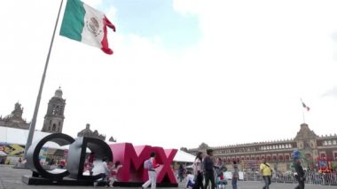 Mexico City, Mexico-August 2014: Mexico City logo in Constitution Square. — Stock Video