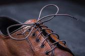 一对漂亮的棕色皮革鞋 — 图库照片