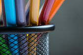 Bunch of color pencils in a stand — Stock Photo