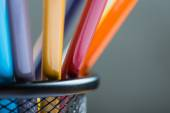 Bunch of color pencils in a stand — Стоковое фото