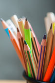 Bunch of color pencils in a stand — Stockfoto