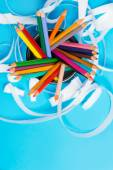 A bunch of color pencils in a stand — Stock Photo