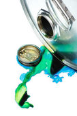 Steel chemicals drum with pollution liquid over the white background — Stock Photo