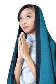 Catholic woman praying, isolated on white  — Stock Photo