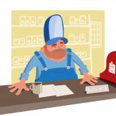 Sullen cashier in a large baseball cap standing behind the desk — Stock Vector