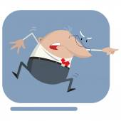An angry boss shouting, jumping and pointing — Stock Vector