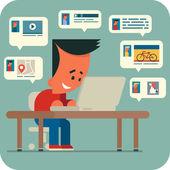 Junger Mann im online Chat. — Stockvektor