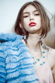 Fashion woman model portrait blue fur coat — Foto Stock