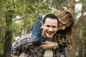 Happy couple fooling around — Stock Photo