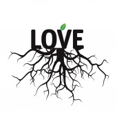 Black Vector Text Love and Roots. — Stock Vector