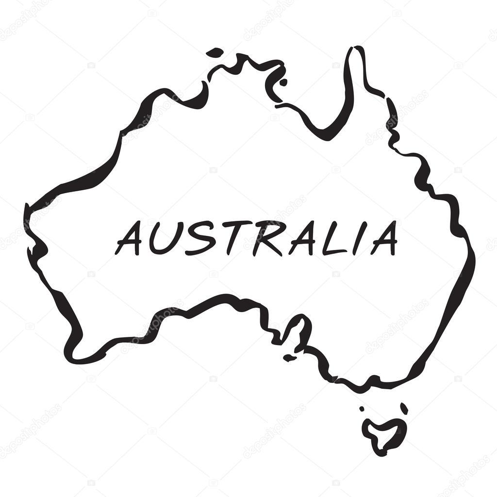 黑色矢量地图的澳大利亚