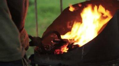 Blacksmith forged iron knife — Stock Video
