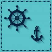 Nautical wheel and anchor — Stock Vector