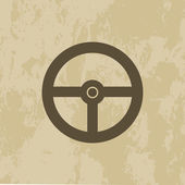 Steering Wheel icon on grunge background — Stock Vector
