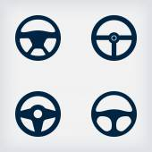 Handlebars automotive icons  Steering Wheel — Stock Vector