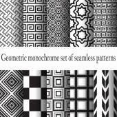 Set of monochrome seamless — Stock Vector