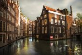 Amsterdam channels with buildings — Stock Photo