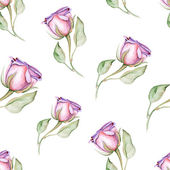 Watercolor roses buds seamless pattern. — Stock Vector