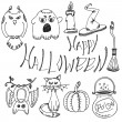 Vector set of hand drawn doodles and lettering. Happy Halloween — Stock Vector #83147490