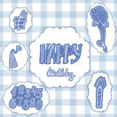 Doodle set of birthday decorations for gift card — ストックベクタ