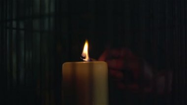 Lighting a candle with match in slow motion — Stock Video