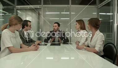 Business People Having Board Meeting In Modern Office — Stock Video