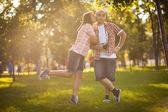 Girl kissing Man — Stock Photo