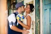 Vintage bride groom — Stock Photo