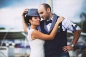 Bride, hat, wedding, smile — Stock Photo