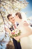 Groom bride flowered trees — Fotografia Stock